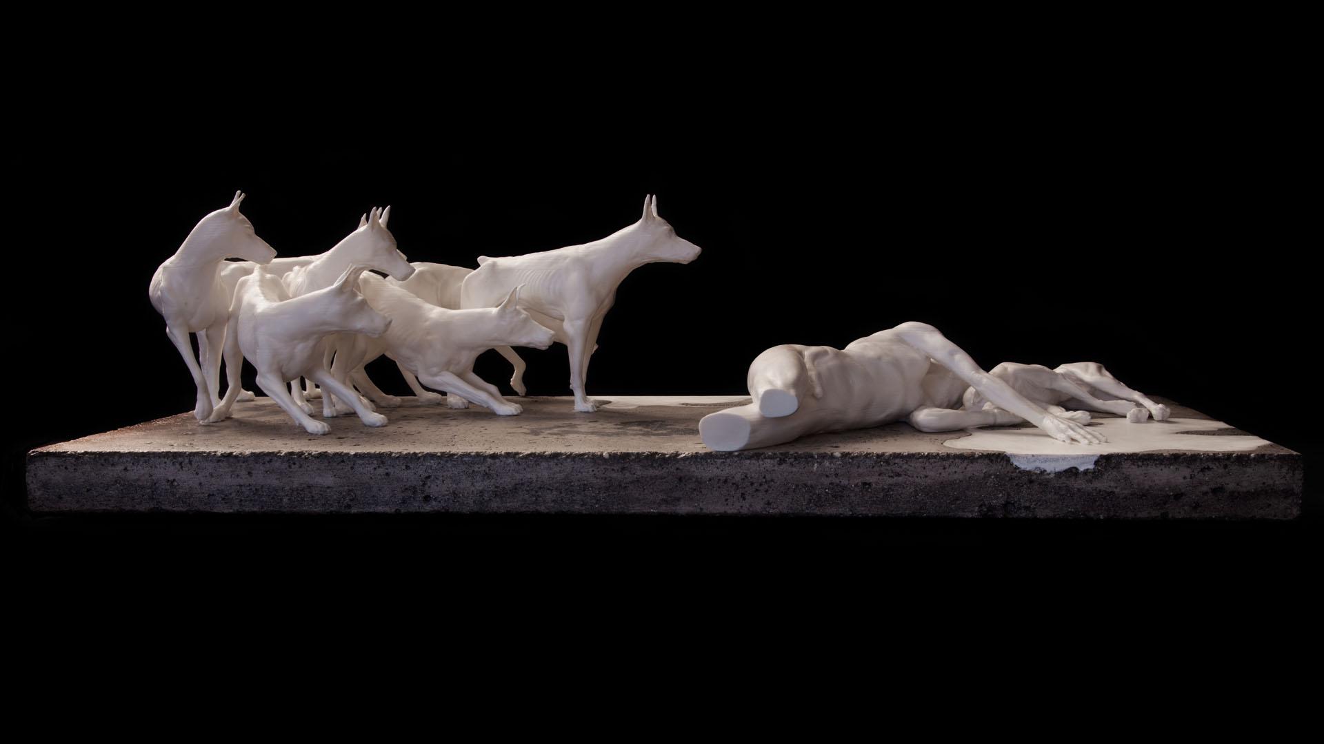 sculpture, impression 3D, 3D printed, Concrete, béton, ABS, entre chien et loup, meute, chien, homme,